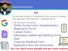 Create Quiz, Survey Questionnaires, Reg. Forms on Google Forms