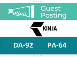 Write and publish a guest post on Kinja.com DA 92