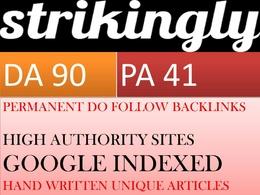 Write and publish Unique guest post on Strikingly DA 90