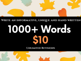 Write an 1000 words informative, unique and handwritten content