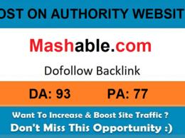 Add A Guest Post On Mashable.com – DA 93 Daily Traffic 473,818
