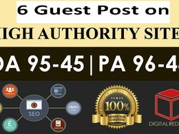Write and publish 6 guest post on 6 Dofollow sites.