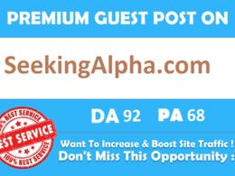 Publish article On finance site on SeekingAlpha. com DA 92