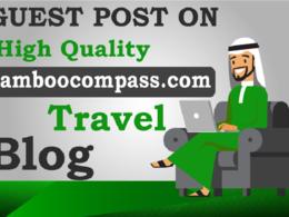 Accept guest post content on DA 40+ bamboocompass.com (Travel)