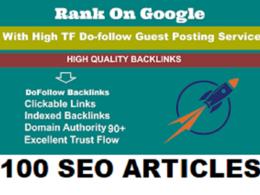 Link Building Write & Publish100 Guest Posts DA98 - UK - USA
