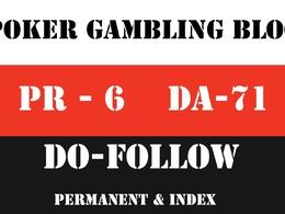 Publish Guest Post on DA 71 Poker, Casino and Gambling Blog