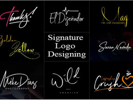 Design signature style, typography and text based logo