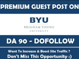 Write & publish guest post on BYU DA 90 Dofollow baklink