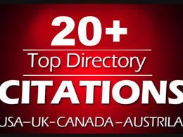 Do 20 directory citations for usa, uk, canada local SEO