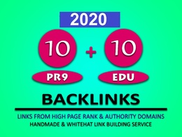 Make 10 PR9 + 10  EDU High DA PA  SEO Authority Backlinks