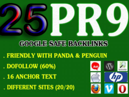 25 PR9 High Quality DA 80+ Permanent Profile Backlinks SEO