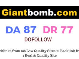 Publish Guest Post on Giantbomb.com DA87 DR77