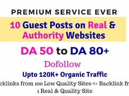 Publish guest posts on DA50-DA80+ for 10 Top quality websites