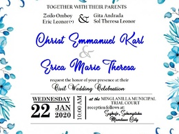 Layout wedding invitation and tags