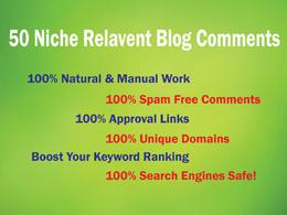 Build 50 Niche Relevant Blog Comments Backlinks on High DA Blog