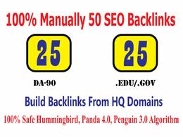 Build Manually 25 DA90 + 25 EDU/GOV High Quality Backlinks