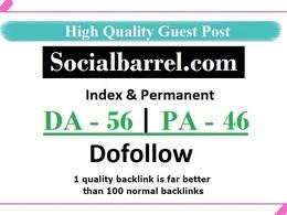Add A Dofollow Guest Post On Socialbarrel.com - DA - 56