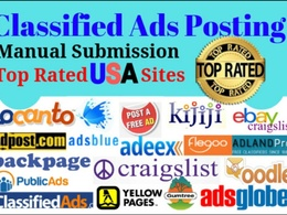 Post classified ads in USA 50 top rated sites manually