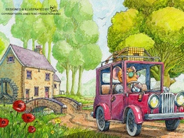 Produce a double page spread children's book illustration