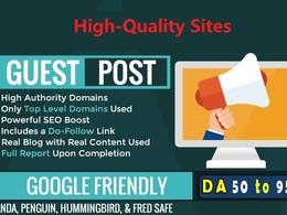 Guest post on 10 High DA Websites with Unique Content DA 50-90+