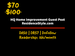 Home Improvement guest Posting on ResidenceStyle.com DA: 48