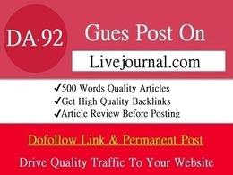 Write & Guest Post On Livejournal - Livejournal.com - DA 92