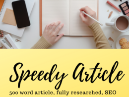 Write a 500 word article, fully researched, SEO optimised