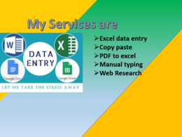 Do 2 hrs of  Excel Data Entry, Web Research and Email Extraction