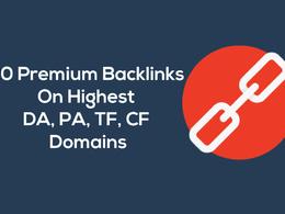 20 Premium Backlinks DA90+ and Highest TF CF Link Building
