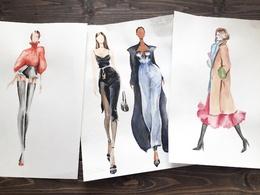 Paint watercolor fashion illustration