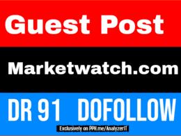 Guest Post on Marketwatch. com DA93 PA90 Dofollow Backlink
