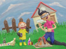 Create children illustrations using clay