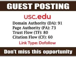 EDU Guest Post on USC, USC.edu DA91 - Dofollow Links