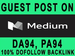 Guest post on Medium DA 93 with high metric backlinks