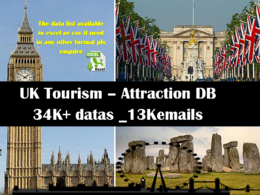 Geniue Database of UK Attractions list 34K + 13K emails