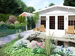 Make a 3D visualization of landscaping your garden.