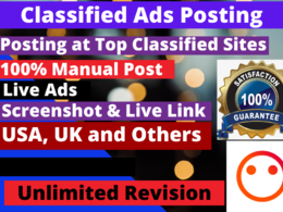 Post 80 classified Ads to USA high PR website