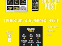 Design 5 professional social media post