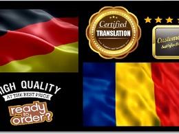 Certified Translation German Into Romanian (Native speaker)