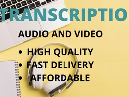 Transcribe 20 mins audio and video to text