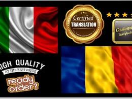 Certified Translation Italian Into Romanian (Native speaker)