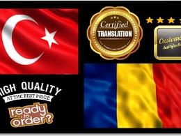 Certified Translation Turkish Into Romanian (Native speaker)