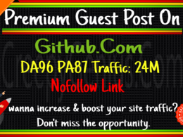 Provide guest post on Github.com, DA 97 Nofollow link