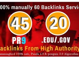 I will manually do 40 PR9 + 20 EDU/GOV Safe SEO High Pr Backlink