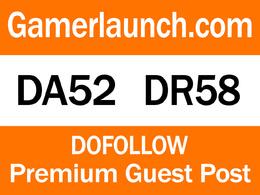Guest Post on Gambling Website Gamerlaunch.com DA 52