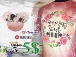Create flower t shirt design for redbubble teespring amazon