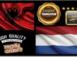 Certified Translation Albanian Into Dutch ( 500 Words )