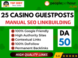 ★ Write Publish 25 CASINO/GAMBLING Guest Posts + DoFollow Links★