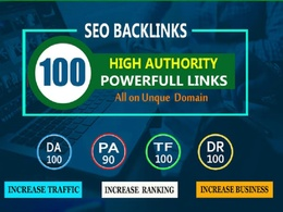 Do 100 Unique Domain SEO Backlinks on DA100 TF100 Websites