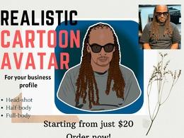 Draw realistic cartoon avatar & digital portrait for your profil